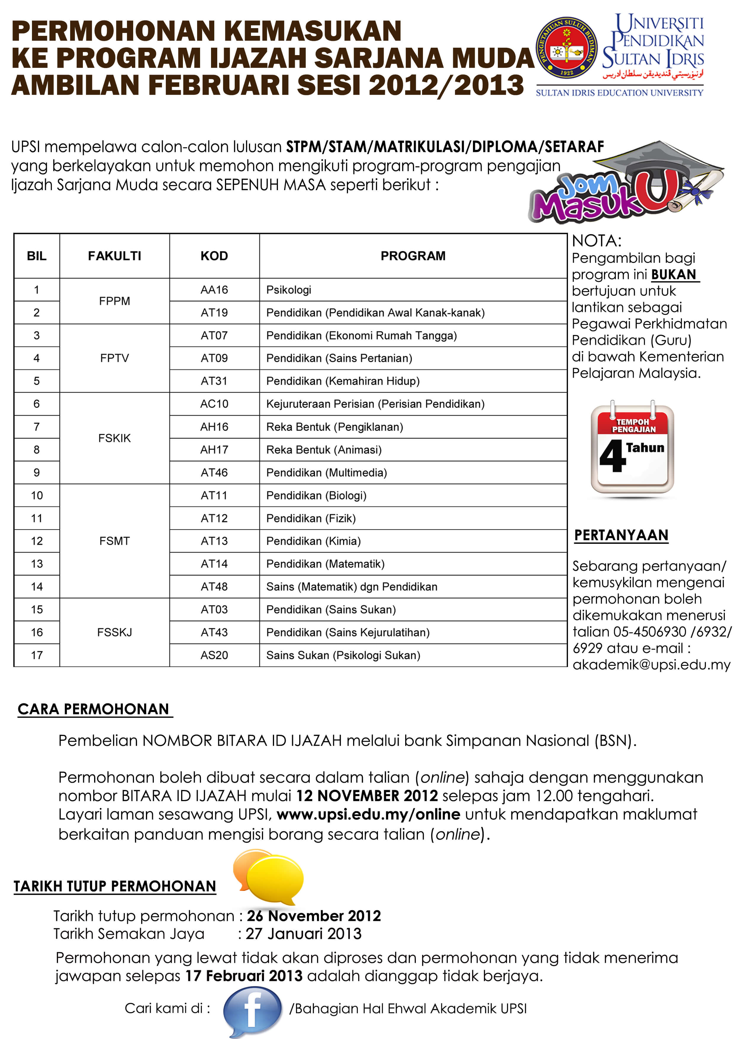 Permohonan UPSI Lepasan STPM/ Setaraf 2013
