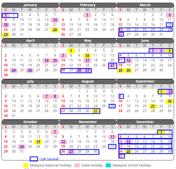 Kalendar Cuti Sekolah 2017
