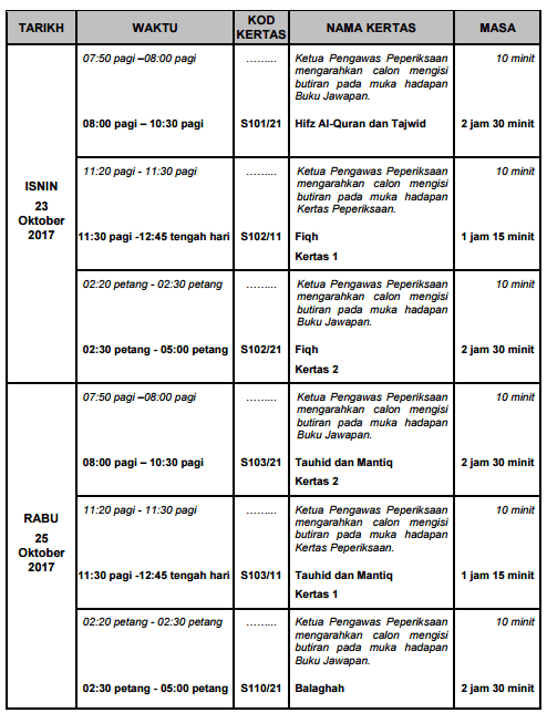 Tarikh dan Jadual Peperiksaan STAM 2017