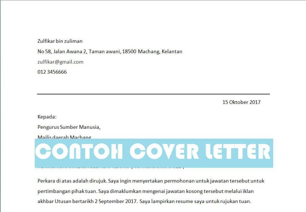 cover letter contoh
