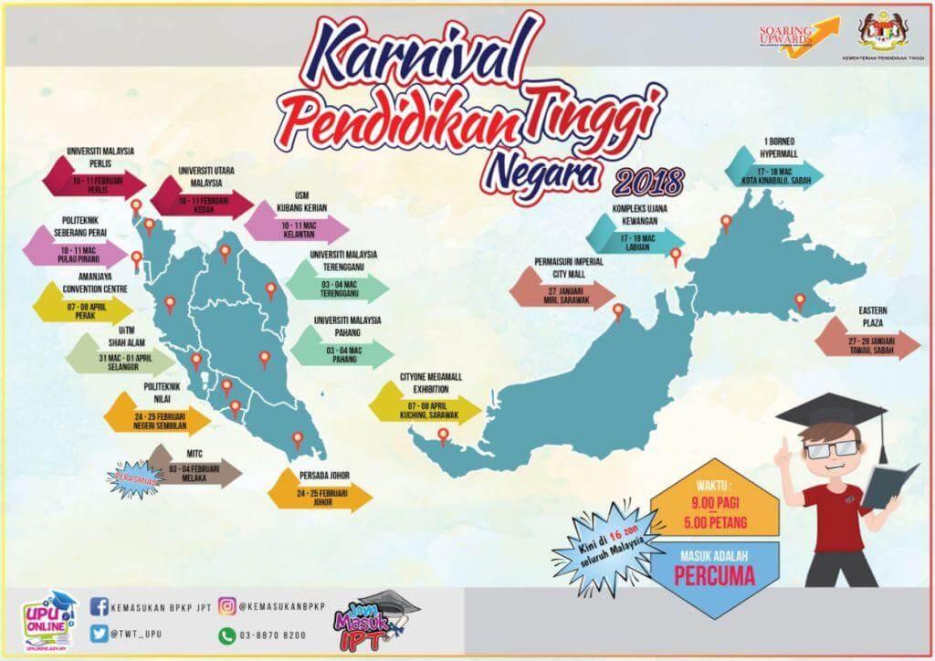 Lokasi dan Tarikh Jom Masuk IPT 2018
