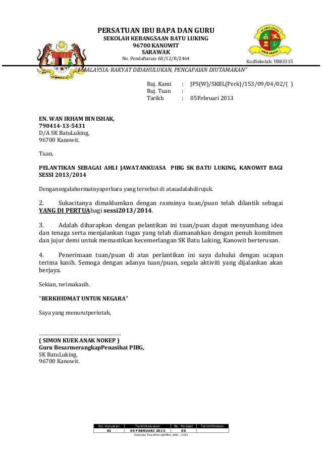 Contoh Surat Pelantikan Jawatankuasa Keselamatan